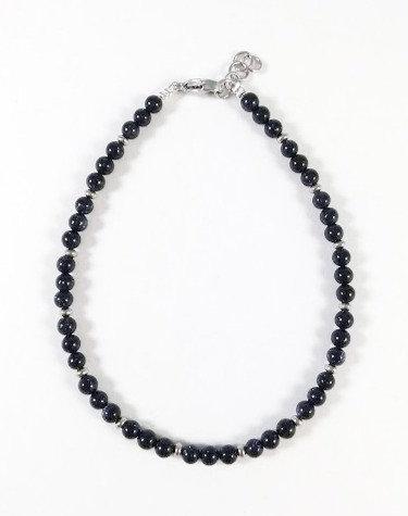 Bracelet de cheville, Pierre Golstone bleu marin, Acier inoxydable