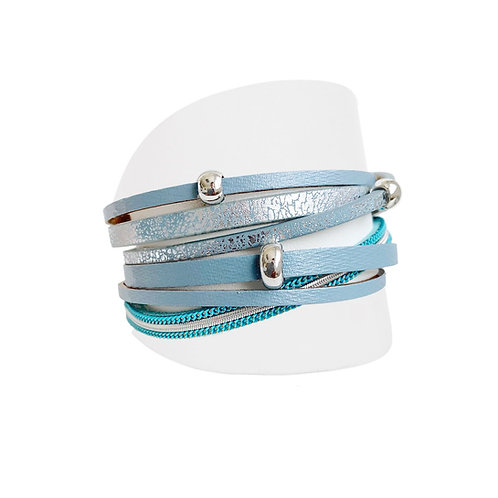 Bracelet Caracol, Cuirette avec métal, Bleu, 3144-TRQ