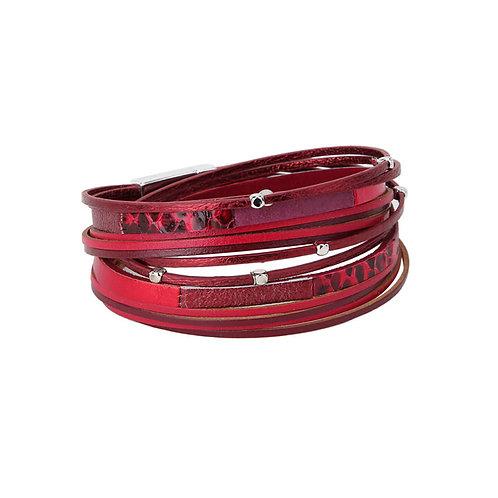 Bracelet Caracol, Cuir, Rouge, 3152-RED