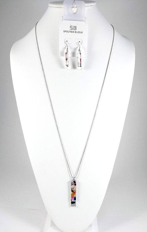 Ensemble collier long et boucles d'oreille Spoutnik, Rectangle multicolore