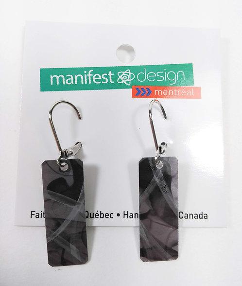 Boucles d'oreille réversible Manifest Design: Petite plaque, Gris-noir/Jaune