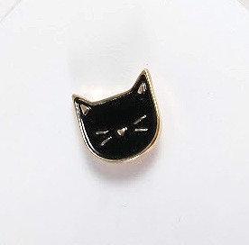 Épinglette: Mini tête de chat noir