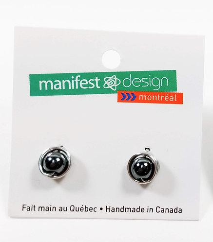 Boucles d'oreille Manifest Design: perle gris hématite 8mm