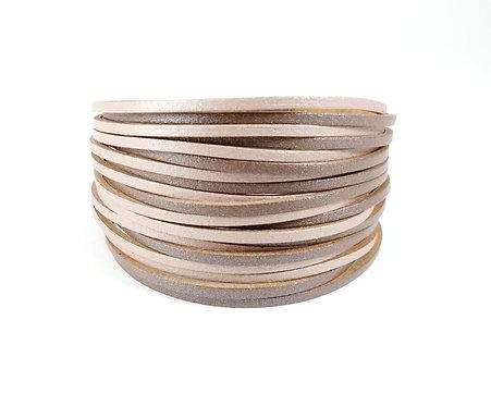 Bracelet Caracol, Multi-rangs, Bandes de cuir brun-beige