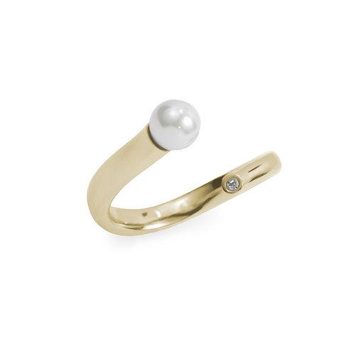 Bague Mia, perle/pierre, Acier inoxydable, Or