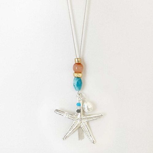 Collier long Caracol, corail et turquoise, perle blanche, Argent 1385-STR