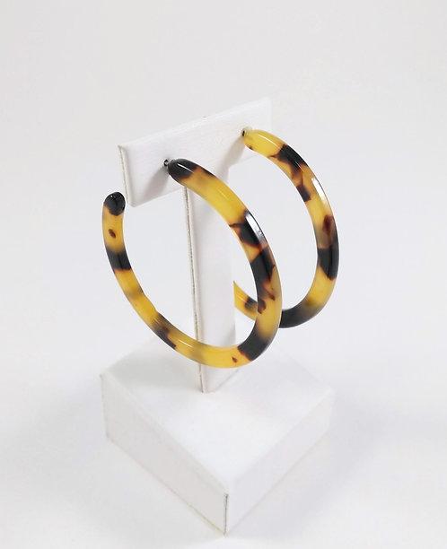 Boucles d'oreille anneau Spoutnik, Acrylique, Léopard
