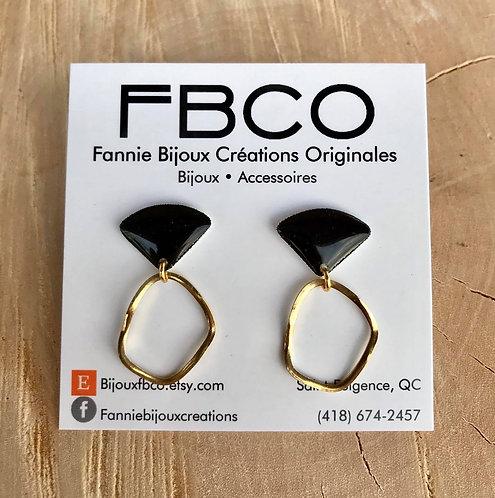 Boucles d'oreille FBCO ''Merrie'' Noir