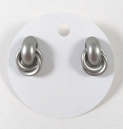 Boucles d'oreille Spounik: Anneaux entrecroisées, Argent mat