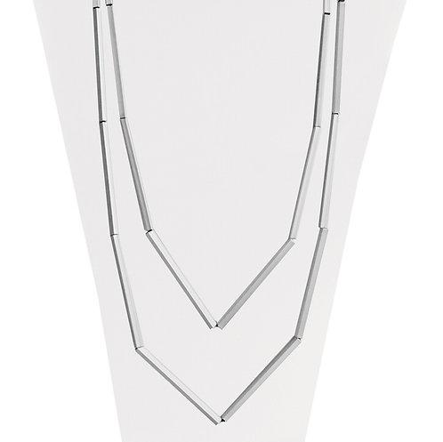 Collier long Caracol, Tubes métalliques, Argent, 1346-SLV
