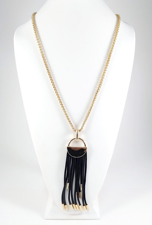 Collier long Spoutnik, Grosse chaîne or avec médaillon et franges de cuir noir