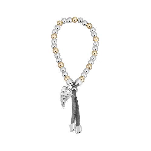 Bracelet élastique Caracol, breloque coeur, Argent et or, 3143-MXG