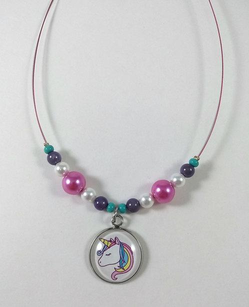 Collier pour enfants: Licorne, rose, perle blanche, mauve et turquoise