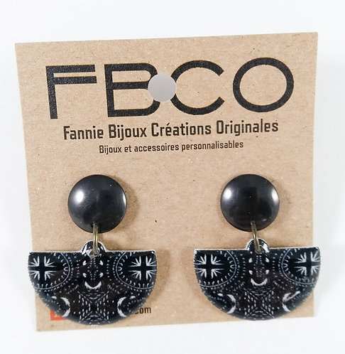 Boucles d'oreille FBCO  Noir et blanc