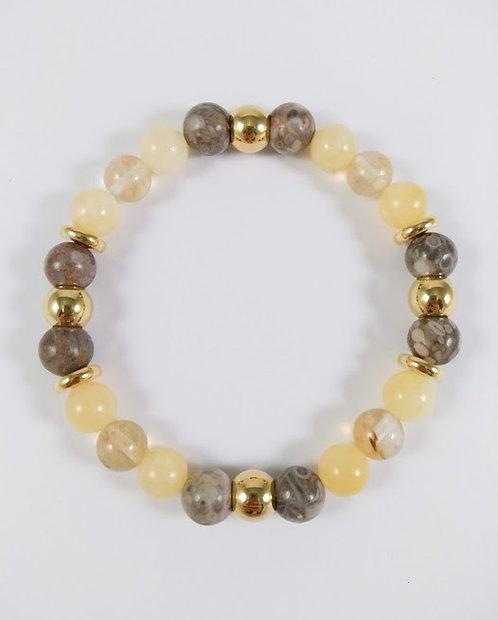Bracelet #35 Calcite miel, Agate fossile et Quartz fumé