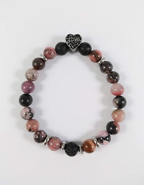 Bracelet #21 Rhodonite et pierre volcanique