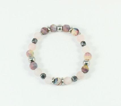 Bracelet #46 Agate colorée, Quartz rose et hématite