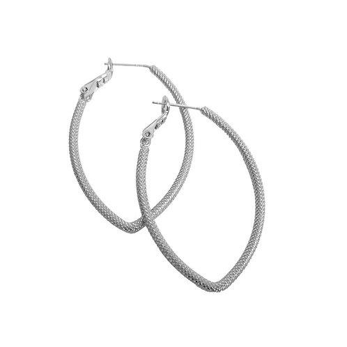 Boucles d'oreille Caracol, Anneaux texturés, Argent, 2338-SLV