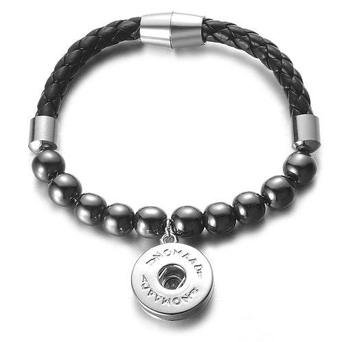 Bracelet Hématite et cuir, Nomaad Interchangeable, fermoir aimanté