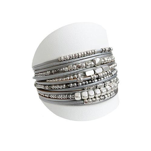 Bracelet Caracol, Cuir, Gris, 3161-GRY