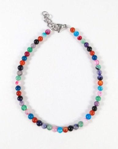 Bracelet de cheville, Pierres: Agate, Acier inoxydable