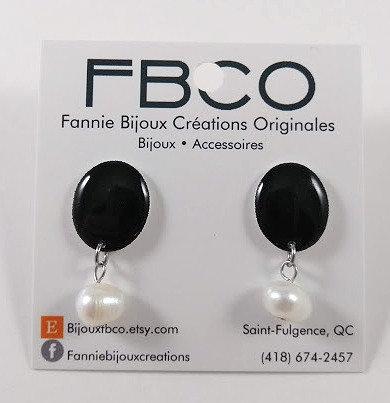 Boucles d'oreille FBCO ''Pauline: noir uni)