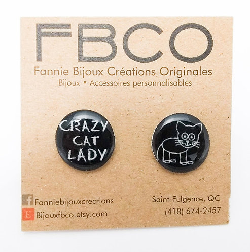 Boucles d'oreille FBCO ''Message: crazy cat lady''