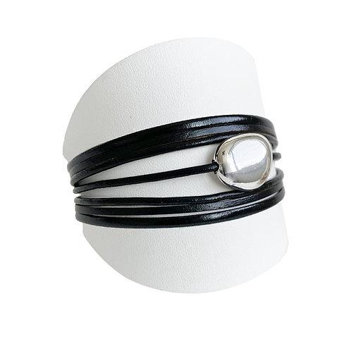 Bracelet Caracol, Cuir et bille, Noir, 3136-BLK