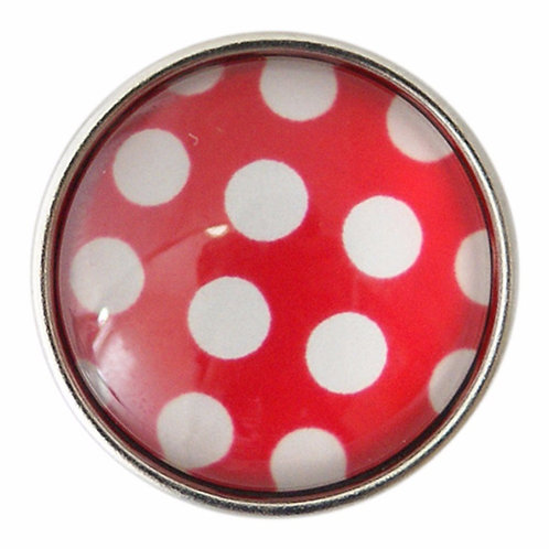 Bouton pression (snap) Nomaad Interchangeable, Pois blanc fond rouge