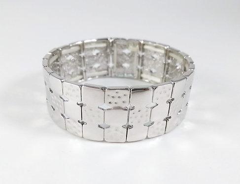 Bracelet Spoutnik élastique, Carré argent