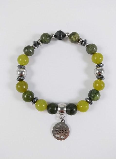 Bracelet #36 Jade vert canadian, jade olivine et Hématite