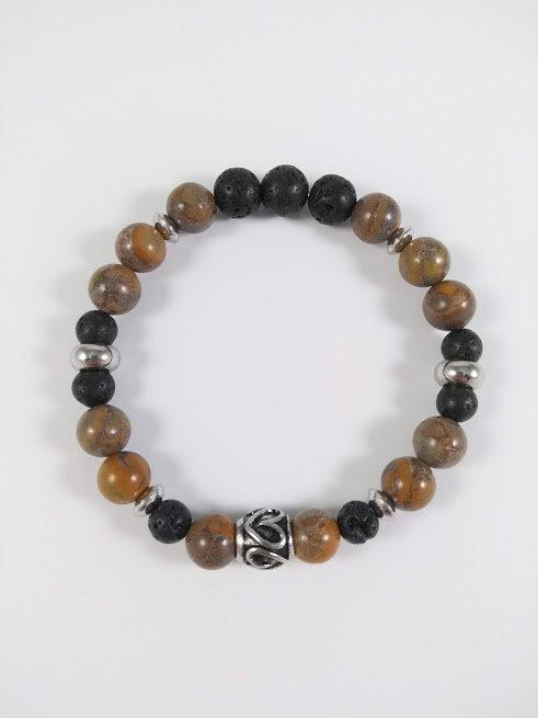 Bracelet #2 Chrysanthème et pierre volcanique