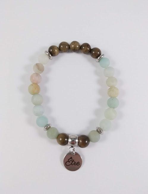 Bracelet #37 Amazonite et bois de Phoebe or