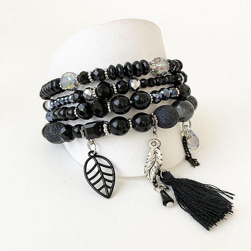 Ensemble de 4 bracelets élastiques Caracol, Billes et breloques, Noir, 3139-BLK