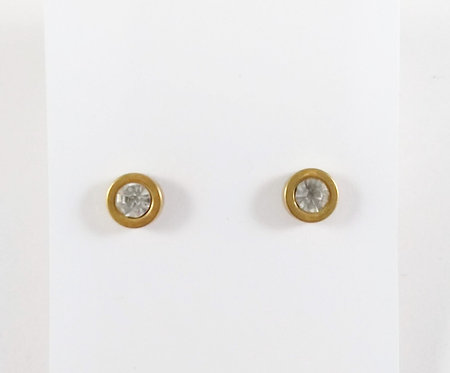 Boucles d'oreille acier inoxydable ''Cristal contour or''