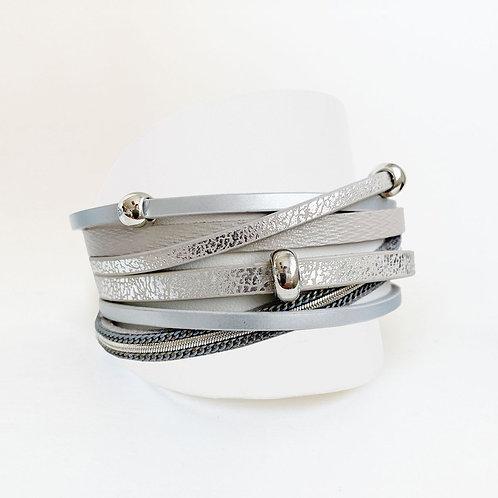 Bracelet Caracol, Cuirette avec métal, Gris, 3144-GRY