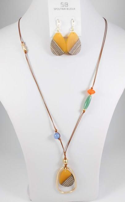Ensemble collier long et boucles d'oreille Spoutnik, Jaune et multicolore, corde