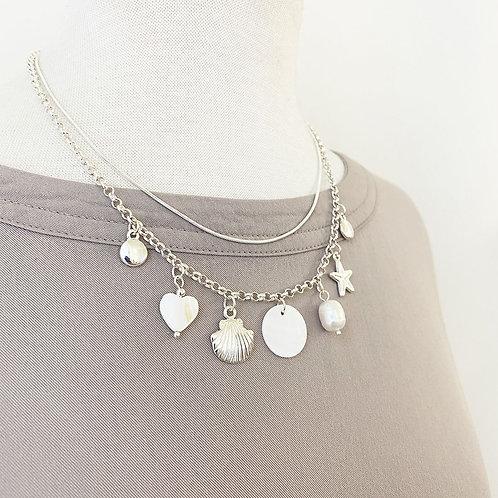 Collier court Caracol, chaîne double, perle et étoile de mer, Argent, 1390-SLV