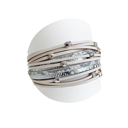 Bracelet Caracol, Cuir avec bille métal, Blanc et beige, 3137-BGE