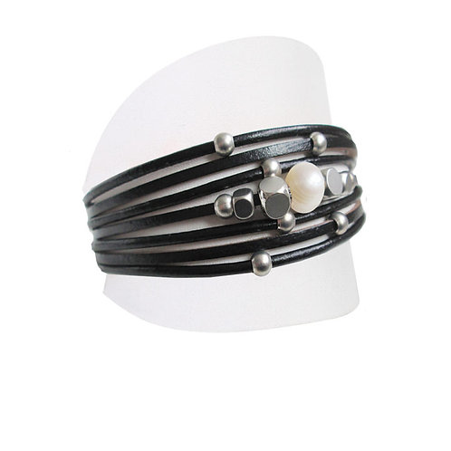 Bracelet  Caracol, Cuir et perle, Noir, 3149-BLK