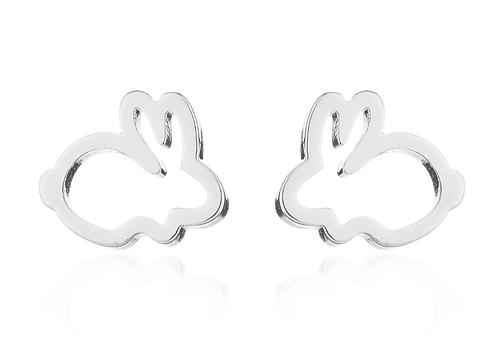Boucles d'oreille acier inoxydable ''Lapin argent''