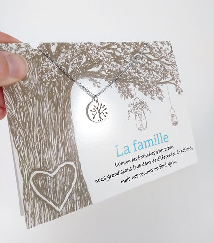Carte de souhait avec collier ''La famille'' Arbre