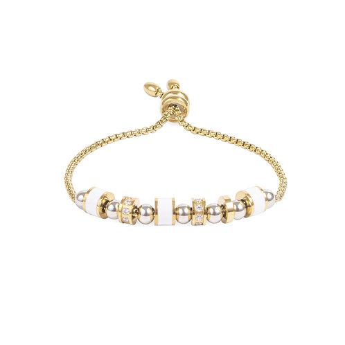 Bracelet Mia, multi billes, or jaune