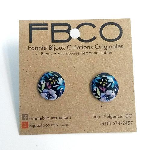 Boucles d'oreille FBCO, Cercle, motif fleur coloré