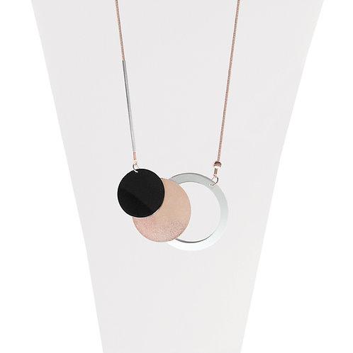 Collier long Caracol, Pastilles métalliques, Mix-Or rose, 1399-MXR