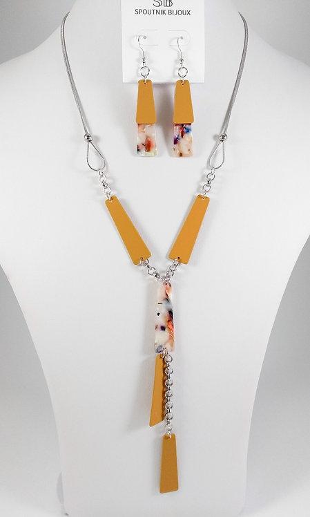 Ensemble collier et boucles d'oreille Spoutnik, Rectangle jaune moutarde
