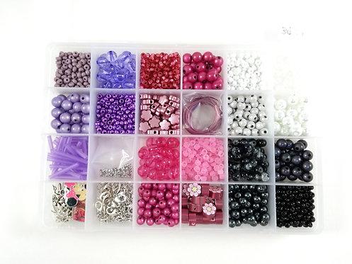 Coffret de fabrication de bijoux: Mauve, rose, blanc et noir