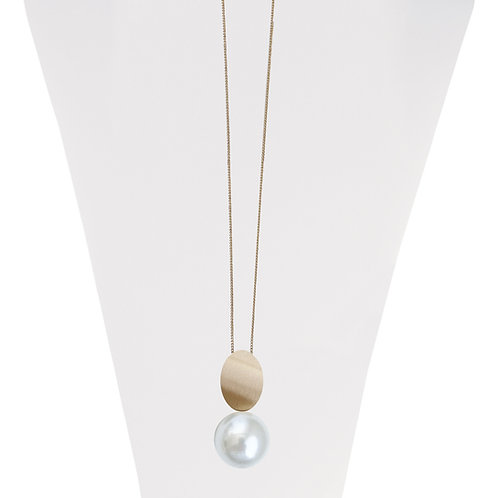 Collier long ajustable Caracol, Perle blanche, Or, 1411-WTE-G