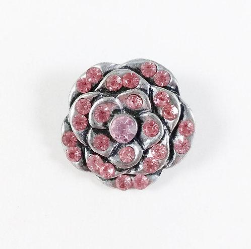Bouton pression (snap) Nomaad Interchangeable, Fleur avec cristaux rose