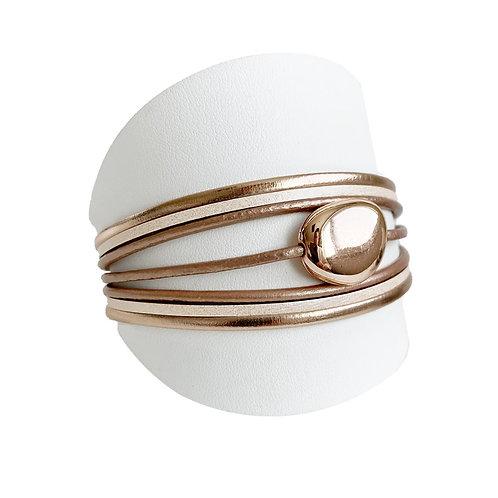 Bracelet Caracol, Cuir et bille, Nude et or rose, 3136-NUD